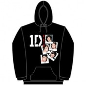 One Direction Photo Stack Black Ladies Hooded Top: Small