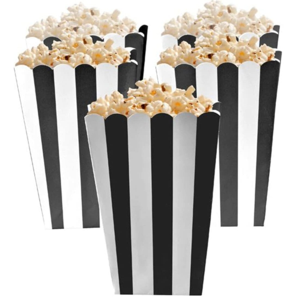 Black Striped Scalloped Popcorn Boxes