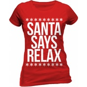 Christmas Generic - Santa Says Relax Women's Medium Fitted T-Shirt - Red