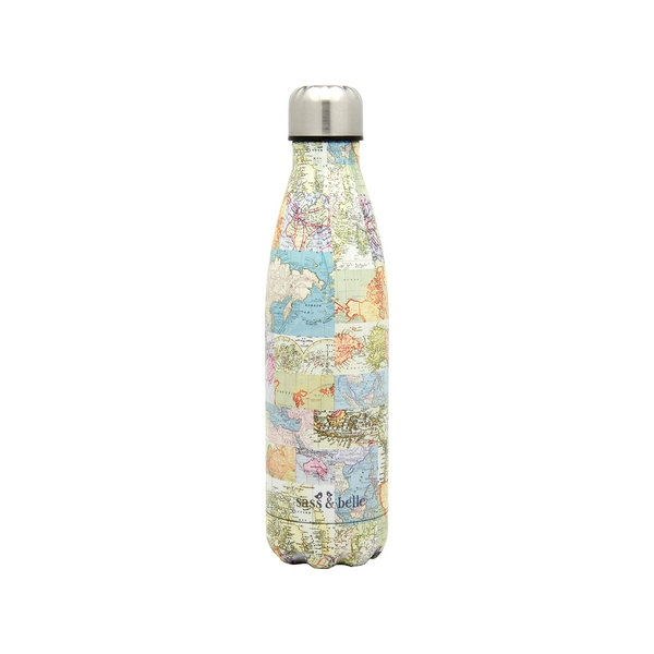 Sass & Belle Vintage Map Metal Water Bottle
