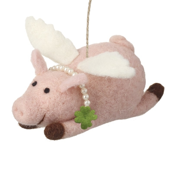 Pink Fabric Flying Pig Christmas Decoration by Heaven Sends