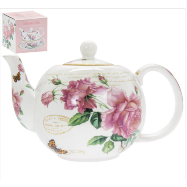 Redoute Rose Teapot By Lesser & Pavey