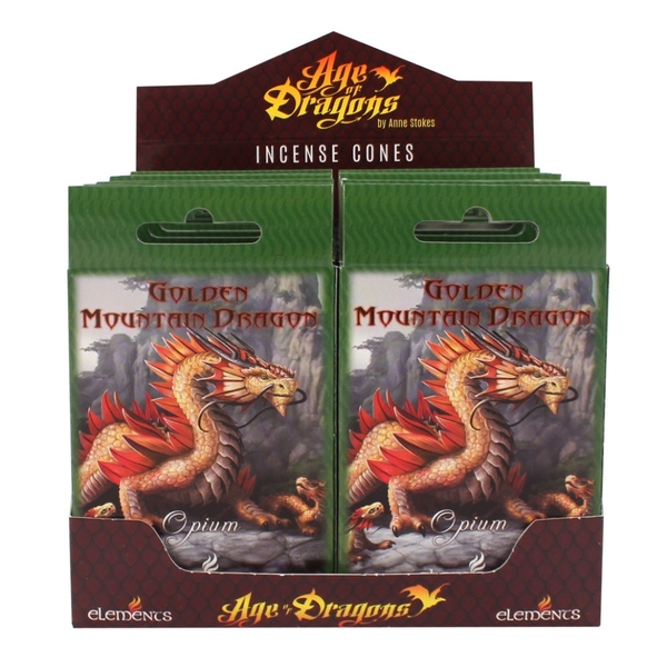 Pack of 12 Golden Mountain Dragon Incense Cones by Anne Stokes