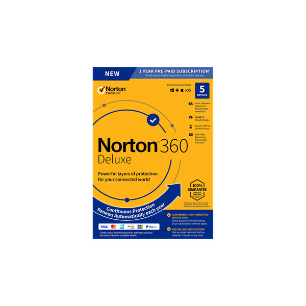Norton 360 Deluxe Windows/Mac/Android/iOS, 50Gb Cloud Storage - 5Devices - 1Year
