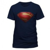 DC COMICS Superman Man of Steel Textured Logo Unisex Medium T-Shirt - Blue