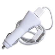 White in Car Charger - For iPhone 3 / 4 and older iPads