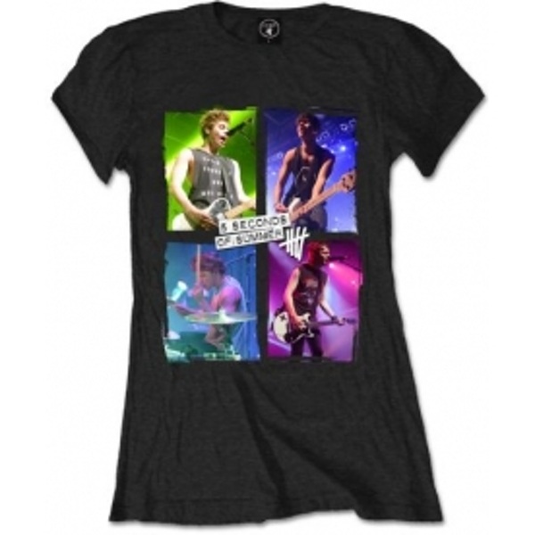 5 Seconds of Summer Live in Colours Ladies Black T-Shirt Small