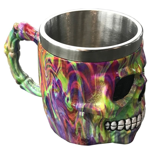 Decorative Rainbow Marble Effect Skull Tankard