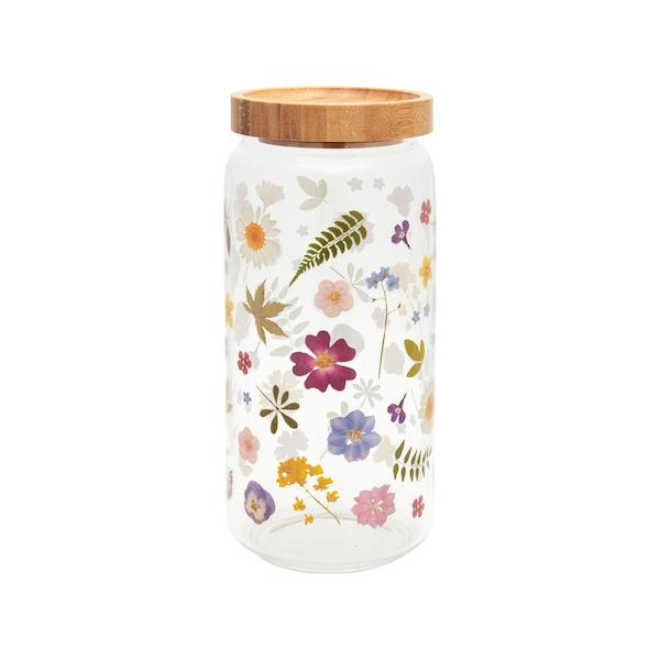 Sass & Belle Large Pressed Flowers Glass Storage Jar