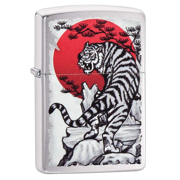 Zippo Asian Tiger Design Chrome Regular Windproof Lighter