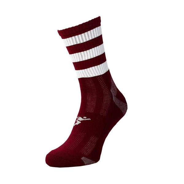 Precision Pro Hooped GAA Mid Socks Maroon/White - UK Size 7-11