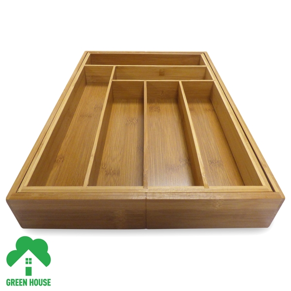 Bamboo Extending Cutlery Drawer Tray With Adjustable Compartments Green House - Image 2