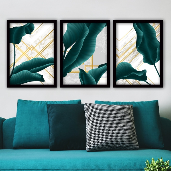 3SC74 Multicolor Decorative Framed Painting (3 Pieces)