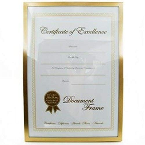 A4 - Impressions Gold Metal Frame with Glass - Certificate