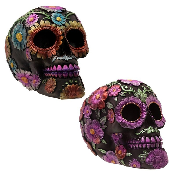 Gothic Metallic Day of the Dead Flower Skull (1 Random Supplied)
