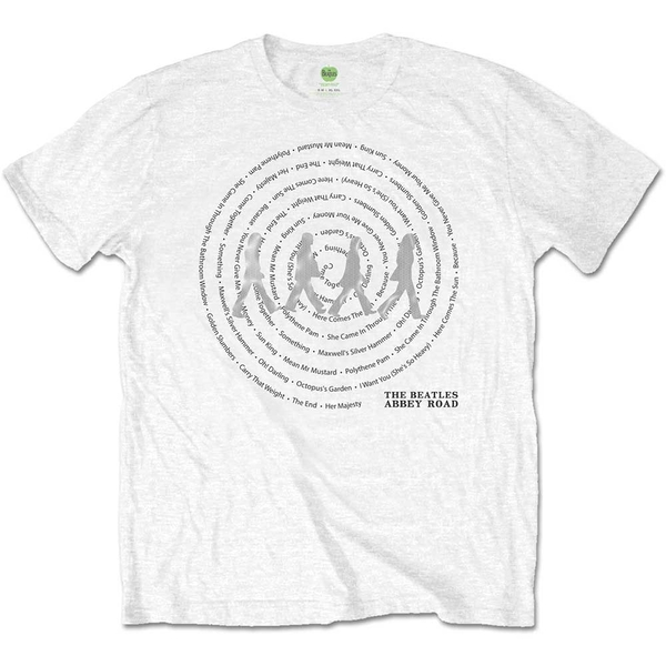 The Beatles - Abbey Road Songs Swirl Unisex Large T-Shirt - White