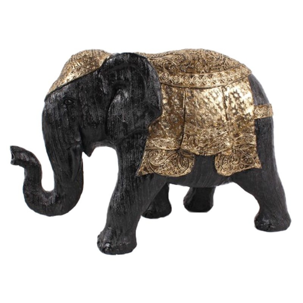 Brushed Black and Gold Medium Thai Elephant Figurine