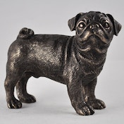 Pug Standing Cold Cast Bronze Sculpture 8cm