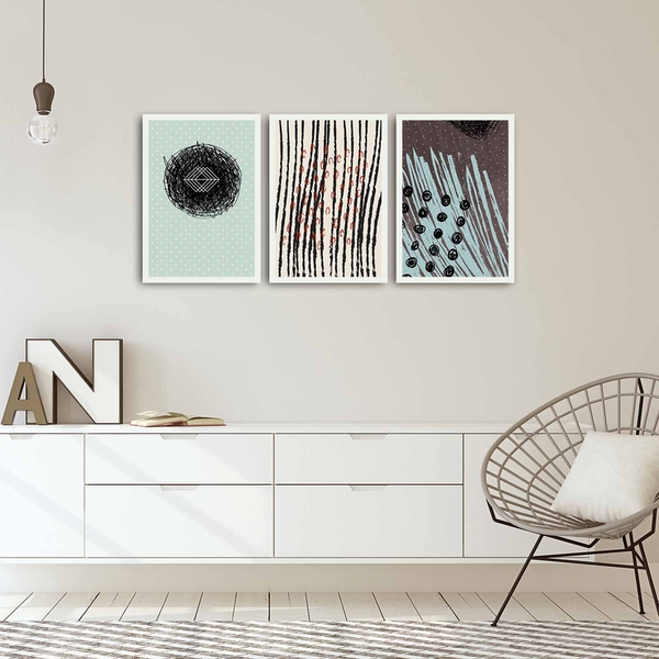 3PBCT-09 Multicolor Decorative Framed MDF Painting (3 Pieces)