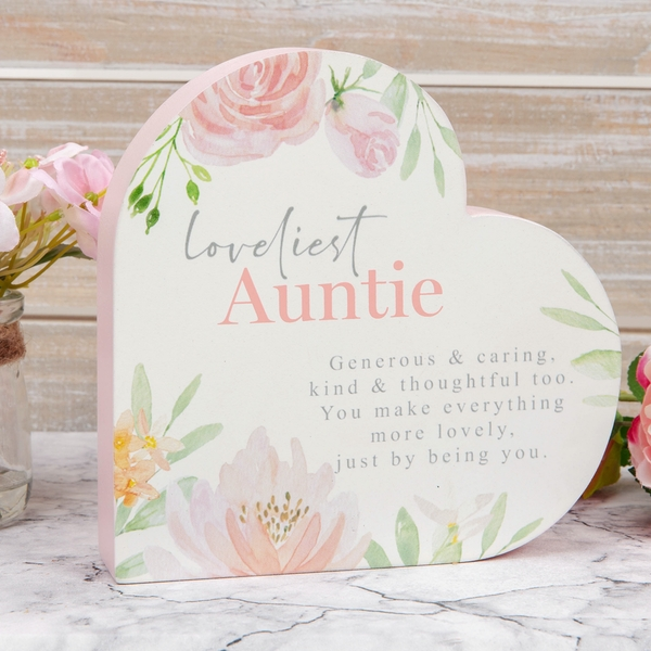 Loveliest Auntie Wooden Heart Mantel Plaque