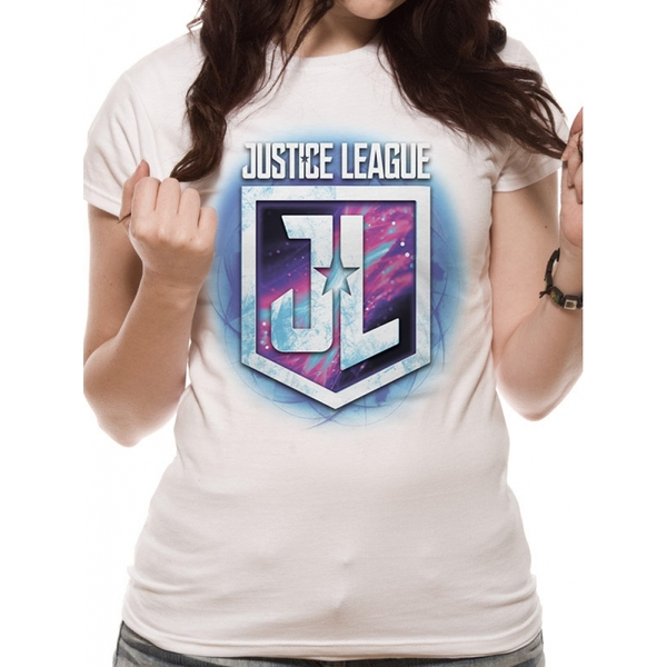 Justice League Movie - Purple Shield Women's Small T-Shirt - White