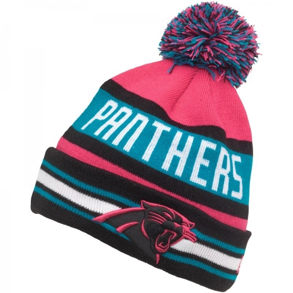 New Era Mens NFL Carolina Panthers The Jake Knit Bobble Hat Blue ... 017e7871ae8