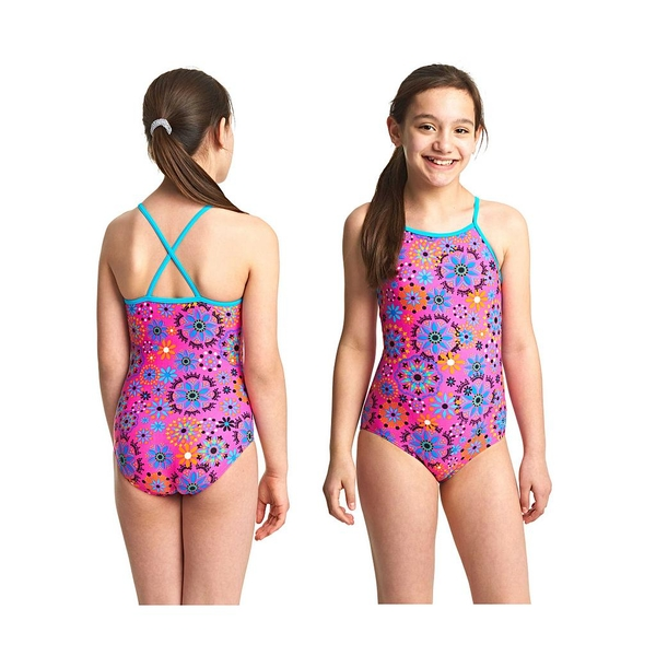 Zoggs Hydrolife Folk Tale Strappy Hi Front Swimsuit Pink/Multi 14-15 Years