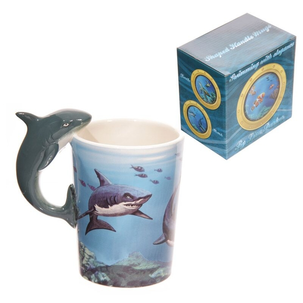 Sealife Shark Shaped Handle Ceramic Mug