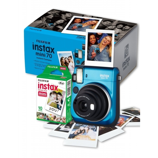Image of Fujifilm Instax Mini 70 Instant Camera with 10 Shots - Blue