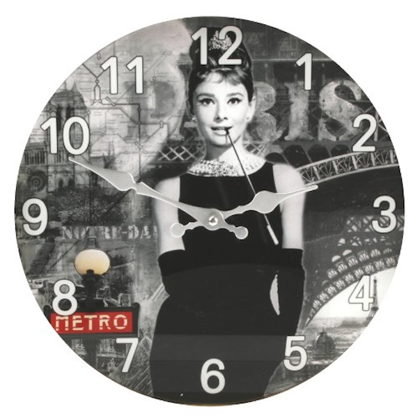 Iconic Collection 30cm Glass Wall Clock - Audrey Hepburn