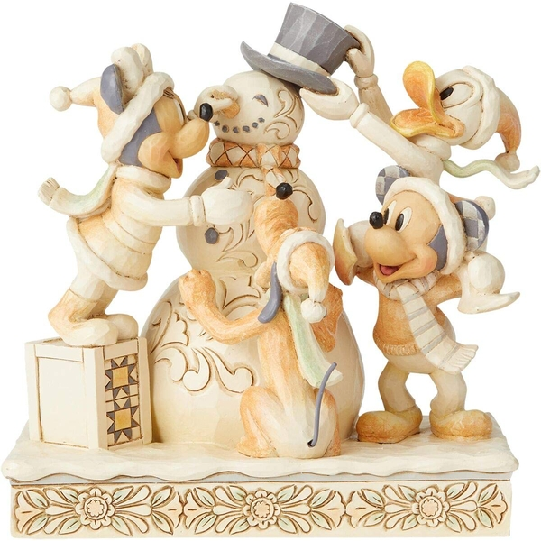 Frosty Friendship White Woodland Mickey and Friends Figurine