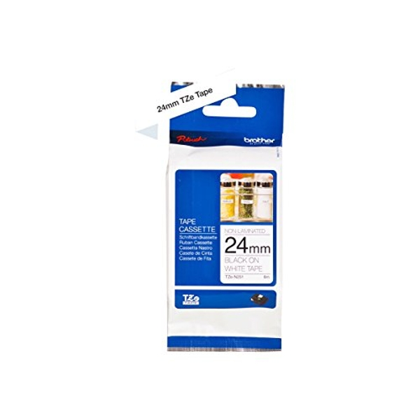 Brother TZe-N251 Labelling Tape Cassette, Black on White, 24mm (W) x 8M (L), Non-Laminated, Brother Genuine Supplies
