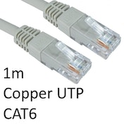 RJ45 (M) to RJ45 (M) CAT6 1m Grey OEM Moulded Boot Copper UTP Network Cable