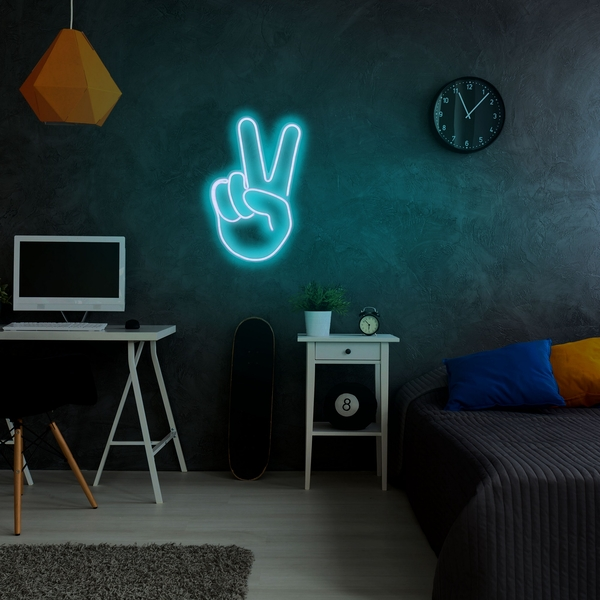 Victory Sign - Blue Blue Wall Lamp