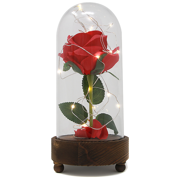 Enchanted Light Up Beauty And The Beast Rose Jar Mw With Rose