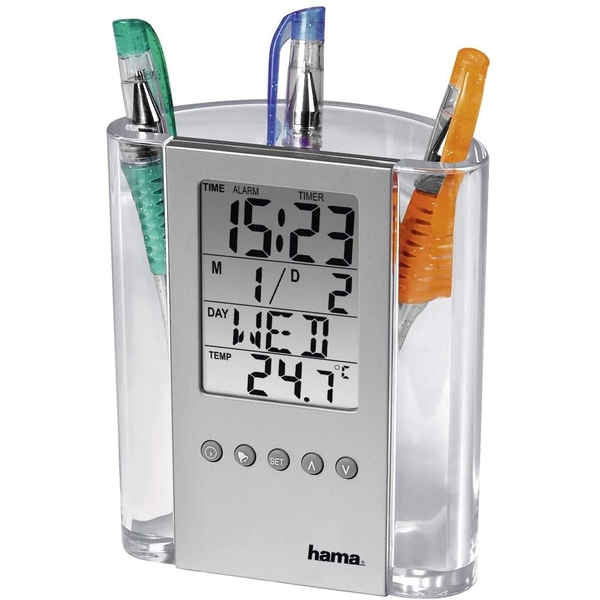 Hama LCD Thermometer Clock and Pen Holder Transparent/Silver