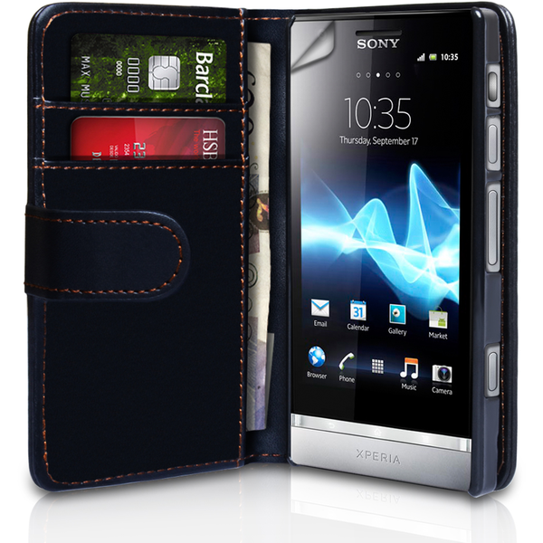 YouSave Accessories Sony Xperia P Leather-Effect Wallet Case - Black
