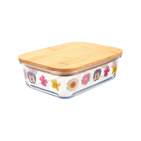 Sass & Belle Large Pressed Flowers Glass Storage Box
