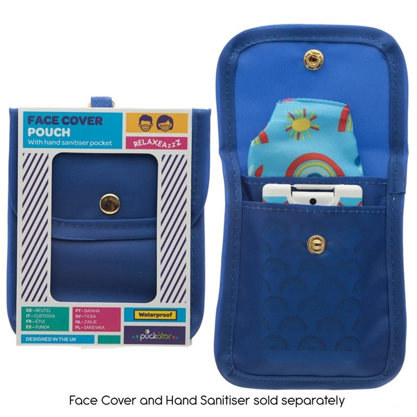 Blue Face Covering & Hand Sanitiser Pouch