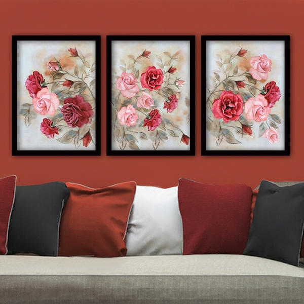 3SC51 Multicolor Decorative Framed Painting (3 Pieces)