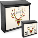 Deer Antlers Printed Mail Box add your house number-name for a unique mail box!