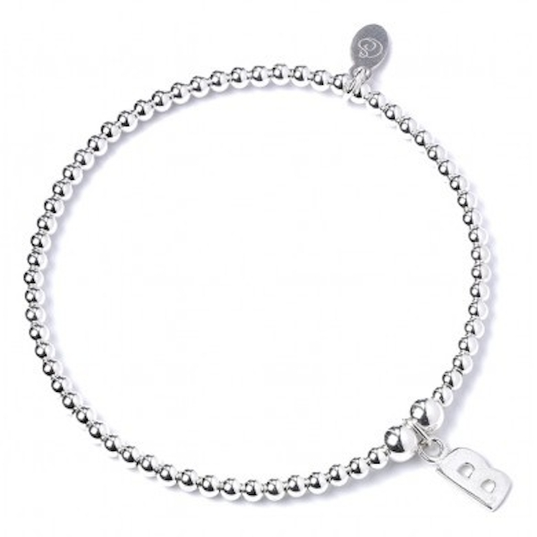 Initial B Charm with Sterling Silver Ball Bead Bracelet