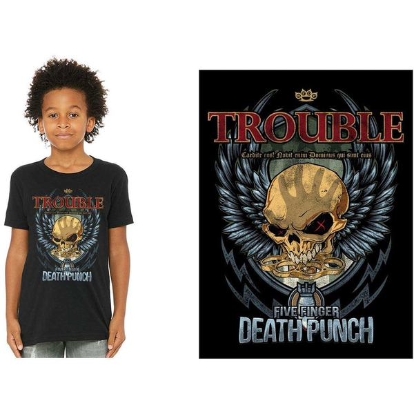 Five Finger Death Punch - Trouble Kids 11 - 12 Years T-Shirt - Black