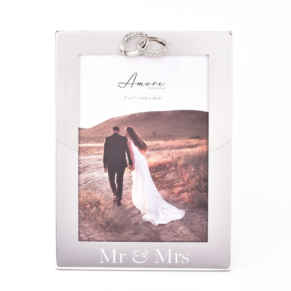 """Amore 2 Tone Silver Frame with Rings Icon """"Mr & Mrs"""" 5"""" x 7"""""""
