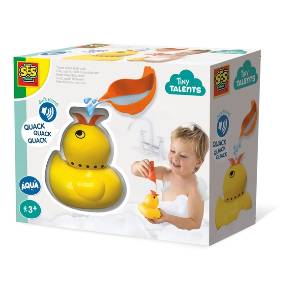 SES Creative - Children's Tiny Talents Quack Quack Duck Bath Toy with Sounds (Yellow)