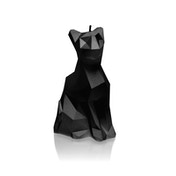 Black High Glossy Low Poly Cat Candle