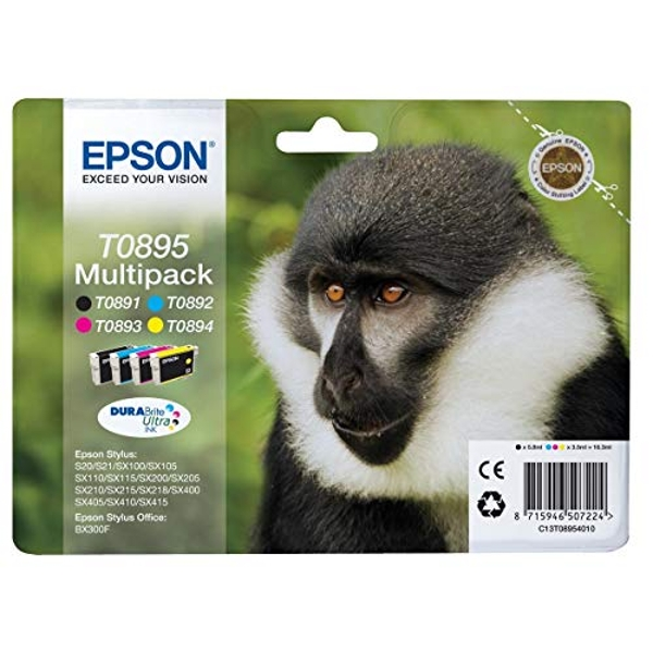 Epson T0895 Original Ink Colour and Black Pack of 4 for Epson Stylus S20,S21,SX105,SX110,SX115,SX200,SX205,SX210, SX215,SX218,SX400,SX405,SX410,SX415