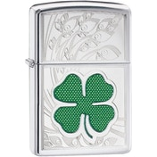Zippo Four Leaf Clover Thumbprint High Polish Chrome Windproof Lighter
