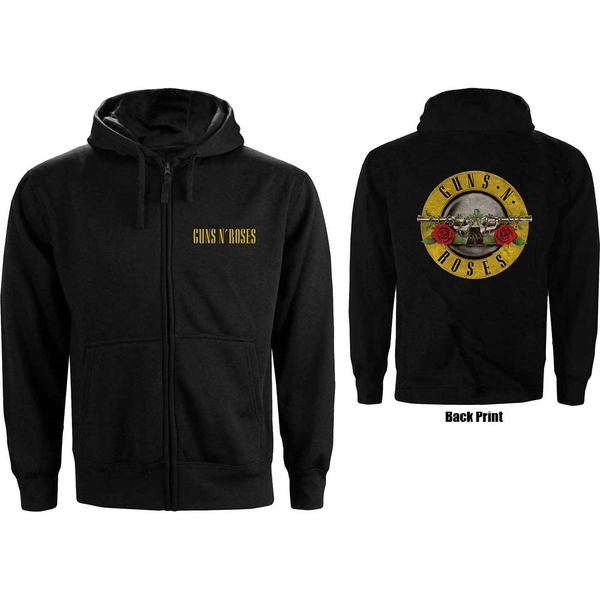 Guns N' Roses - Classic Logo Men's Large Zipped Hoodie - Black