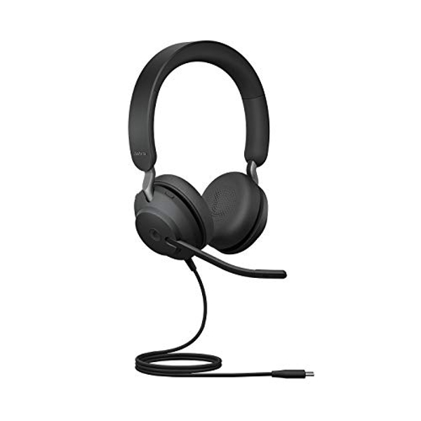 Jabra Evolve2 40 Headset ? Noise Cancelling Microsoft Teams Certified Stereo Headphones with 3 microphone Call Technology ? USB C Cable ? Black